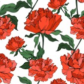 Vector red peonies with leaves isolated on white Seamless background pattern
