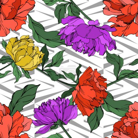 Illustration for Vector multicolored peonies with leaves. Seamless background pattern. - Royalty Free Image