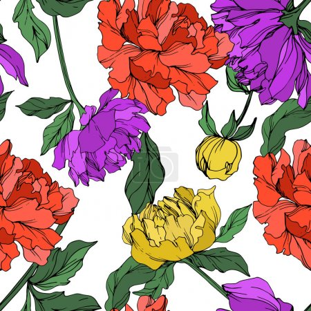 Illustration for Vector multicolored peonies with leaves isolated on white. Seamless background pattern. - Royalty Free Image