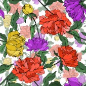 Vector multicolored peonies with leaves isolated on white Seamless background pattern