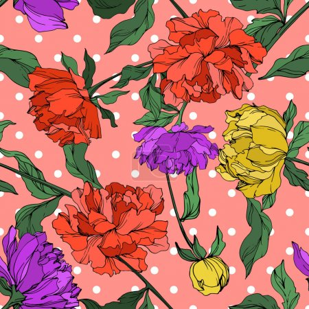 Illustration for Vector multicolored peonies with leaves on pink polka dot background. Seamless background pattern. - Royalty Free Image