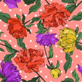 Vector multicolored peonies with leaves on pink polka dot background Seamless background pattern