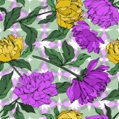 Vector multicolored peonies with leaves Seamless background pattern