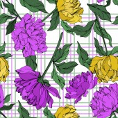 Vector multicolored peonies with leaves on plaid background Seamless background pattern