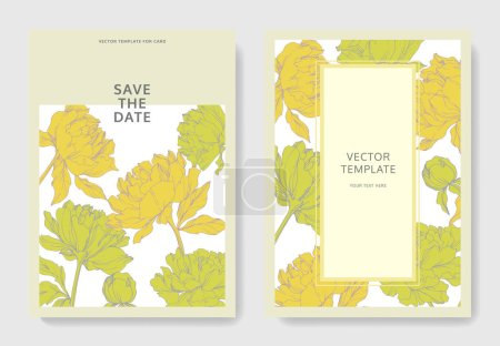 Illustration for Invitation cards templates with lettering and vector  yellow peonies with leaves isolated on white. - Royalty Free Image