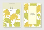 Invitation cards templates with lettering and vector  yellow peonies with leaves isolated on white