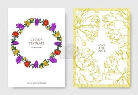 Illustration for Invitation cards templates with lettering and vector multicolored peonies with leaves isolated on white. - Royalty Free Image