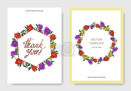 Illustration pour Invitation cards templates with lettering and vector multicolored peonies with leaves isolated on white. - image libre de droit