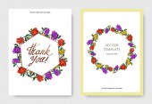 Invitation cards templates with lettering and vector multicolored peonies with leaves isolated on white