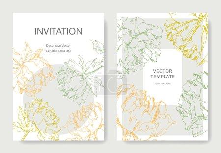 Illustration pour Modèles de cartes d'invitation avec lettrage et pivoines vectorielles avec des croquis de feuilles. - image libre de droit