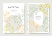 Invitation cards templates with lettering and vector peonies with leaves sketches