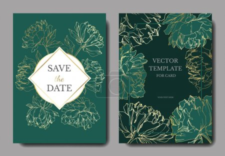 Illustration for Invitation cards templates with lettering and vector peonies with leaves sketches isolated on green. - Royalty Free Image