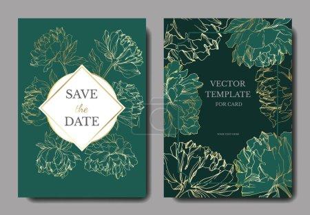 Ilustración de Plantillas de tarjetas de invitación con letras y peonías vectoriales con bocetos de hojas aislados en verde. - Imagen libre de derechos