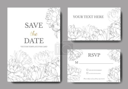 Illustration for Invitation cards templates with lettering and vector black and white peonies with leaves isolated on white. - Royalty Free Image