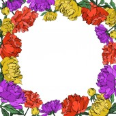 Vector multicolored peonies with leaves isolated on white Empty wreath with copy space