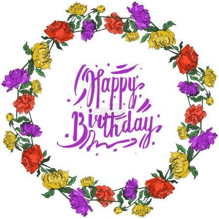 Illustration pour Pivoines multicolores de vecteur avec des feuilles d'isolement sur le blanc. Ornement rond de cadre avec le lettrage heureux d'anniversaire. - image libre de droit
