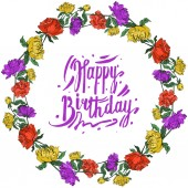 Vector multicolored peonies with leaves isolated on white Round frame ornament with happy birthday lettering