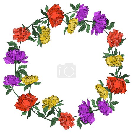 Illustration for Vector multicolored peonies with leaves isolated on white. Empty wreath with copy space. - Royalty Free Image