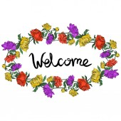 Vector multicolored peonies with leaves isolated on white Round frame ornament with welcome lettering