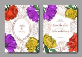 Vector multicolored peonies with leaves isolated on white Elegant invitation cards templates with lettering