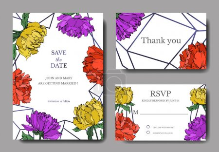 Illustration for Vector multicolored peonies with leaves isolated on white. Elegant invitation cards templates with lettering. - Royalty Free Image