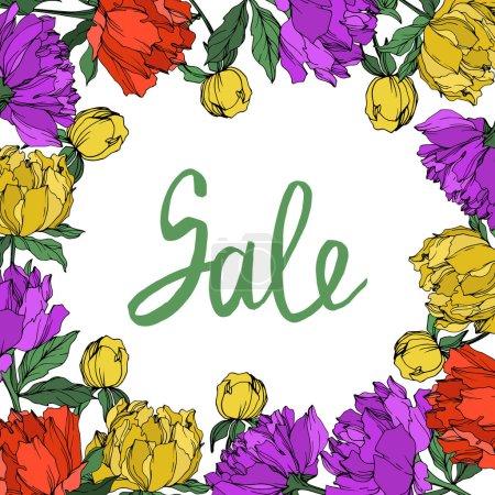 Ilustración de Peonías vectoriales multicolores con hojas aisladas sobre blanco. Adorno de marco redondo con letras de venta. - Imagen libre de derechos