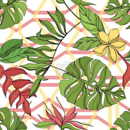 Illustration pour Été hawaïen tropical exotique. Palm plage arbre feuilles jungle botanique succulent. Encre gravée noire et verte. Modèle de fond sans couture. Texture d'impression papier peint tissu . - image libre de droit