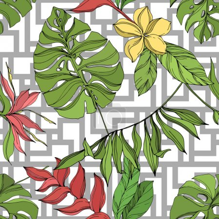 Illustration for Exotic tropical hawaiian summer. Palm beach tree leaves jungle botanical succulent. Black and green engraved ink art. Seamless background pattern. Fabric wallpaper print texture. - Royalty Free Image