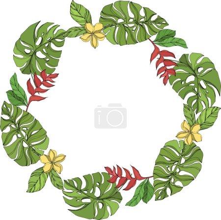 Illustration pour Été hawaïen tropical exotique. Palm plage arbre feuilles jungle botanique. Encre gravée en noir et blanc. Cadre bordure ornement carré sur fond blanc . - image libre de droit