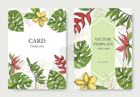 Illustration for Palm beach tree leaves jungle botanical. Black and green engraved ink art. Wedding background card floral decorative border. Thank you, rsvp, invitation elegant card illustration graphic set banner. - Royalty Free Image