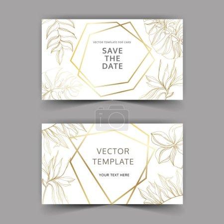 Illustration for Palm beach tree leaves jungle botanical. Golden engraved ink art. Wedding background card floral decorative border. Thank you, rsvp, invitation elegant card illustration graphic set banner. - Royalty Free Image