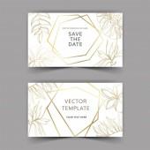 Palm beach tree leaves jungle botanical Golden engraved ink art Wedding background card decorative border
