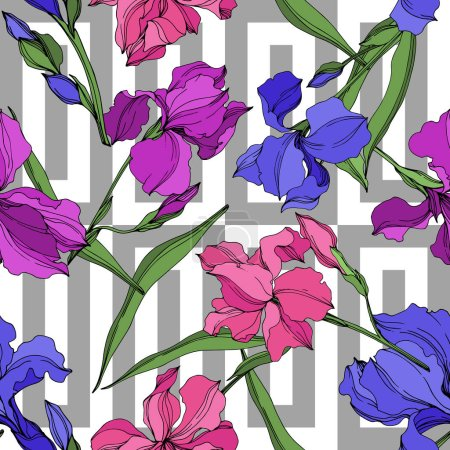 Illustration for Vector Irises floral botanical flowers. Wild spring leaf wildflower isolated. Black and white engraved ink art. Seamless background pattern. Fabric wallpaper print texture. - Royalty Free Image