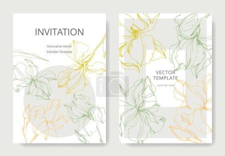 Illustration for Vector Irises floral botanical flowers. Black and white engraved ink art. Wedding background card floral decorative border. Thank you, rsvp, invitation elegant card illustration graphic set banner. - Royalty Free Image