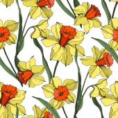 Vector Narcissus floral botanical flower Yellow and green engraved ink art Seamless background pattern