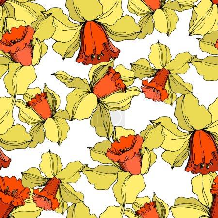 Illustration pour Vecteur Narcisse fleur botanique florale. Feuille sauvage de printemps fleur sauvage isolée. Encre gravée jaune et orange. Modèle de fond sans couture. Texture d'impression papier peint tissu . - image libre de droit