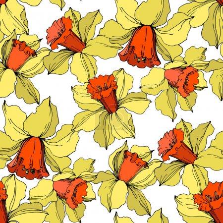 Illustration pour Fleur botanique florale de Vector Narcissus. Fleur sauvage de neige sauvage de feuille de source d'isolement. Art d'encre gravé jaune et orange. Modèle de fond sans couture. Texture d'impression de papier peint de tissu. - image libre de droit