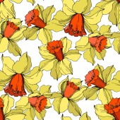 Vector Narcissus floral botanical flower Yellow and orange engraved ink art Seamless background pattern