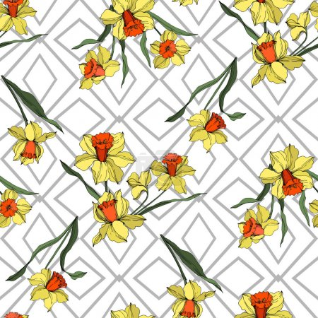 Illustration for Vector Narcissus floral botanical flower. Wild spring leaf wildflower isolated. Yellow and green engraved ink art. Seamless background pattern. Fabric wallpaper print texture. - Royalty Free Image