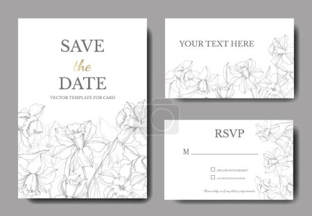 Illustration for Vector Narcissus floral botanical flower. Gray engraved ink art. Wedding background card floral decorative border. Thank you, rsvp, invitation elegant card illustration graphic set banner. - Royalty Free Image