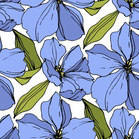 Illustration for Vector Flax floral botanical flowers. Wild spring leaf wildflower isolated. Blue and green engraved ink art. Seamless background pattern. Fabric wallpaper print texture. - Royalty Free Image