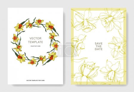 Illustration for Vector Narcissus floral botanical flower. Yellow and green engraved ink art. Wedding background card floral decorative border. Thank you, rsvp, invitation elegant card illustration graphic set banner. - Royalty Free Image