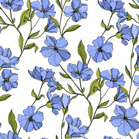 Vector Flax floral botanical flowers. Blue and green engraved ink art. Seamless background pattern.