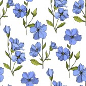 Vector Flax floral botanical flowers Blue and green engraved ink art Seamless background pattern