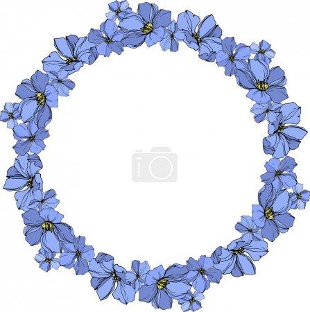 Vector Flax floral botanical flowers. Black and blue engraved ink art. Frame border ornament square.
