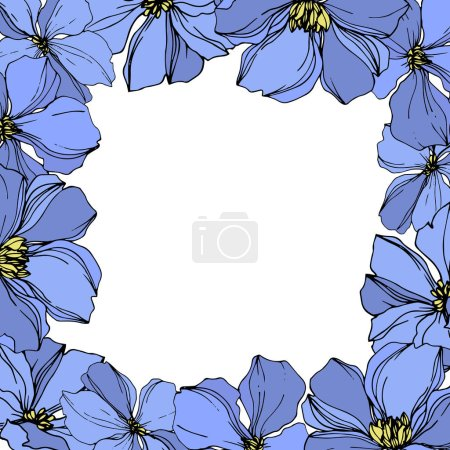 Illustration for Vector Flax floral botanical flowers. Wild spring leaf wildflower isolated. Black and blue engraved ink art. Frame border ornament square on white background. - Royalty Free Image