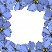 Vector Flax floral botanical flowers Black and blue engraved ink art Frame border ornament square