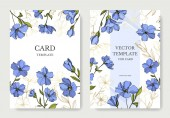 Vector Flax botanical flowers Blue and green engraved ink art Wedding background card floral decorative border