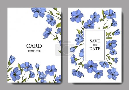 Vector Flax botanical flowers. Blue and green engraved ink art. Wedding background card floral decorative border.