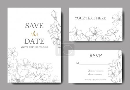 Illustration for Vector Flax floral botanical flowers. Gray engraved ink art. Wedding background card floral decorative border. Thank you, rsvp, invitation elegant card illustration graphic set banner. - Royalty Free Image
